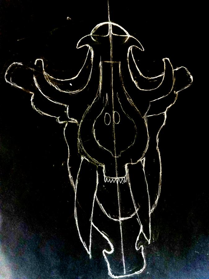 Original artwork by Camila Hernandez Rendon of a tiger skull